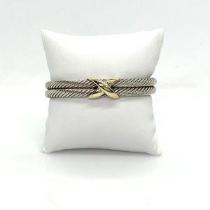 David Yurman 925 & 14k gold 10mm X Cuff Bracelet